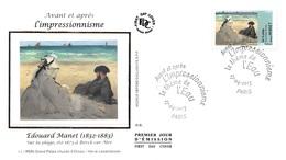 FRANCE. FDC. N°207306. 27/04/2013. Cachet Paris. L'impressionnisme. Edouard Manet. Sur La Plage - 2010-....