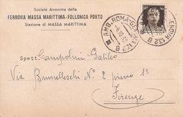 FERROVIA MASSA MARITTIMA / FOLLONICA PORTO - GROSSETO - SPEDIZIONE DI PIRITE DALLA STAZIONE DI MASSA MARITTIMA-1939 - Grosseto
