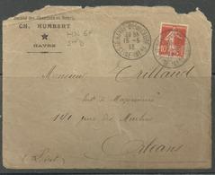 Bon Perforé HN 57  Sur  Enveloppe Identifiée CH  Humbert  Le HAVRE  Scierie - France