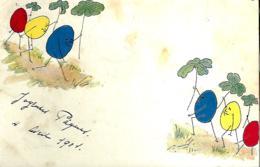 Joyeuses Pâques - Ancienne Carte (dos Non Divisé) Avec Des Oeufs De Couleur 1901 - Pasqua