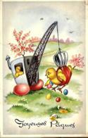 Joyeuses Pâques - Dessun - Grue Soulevant Un Poussin Qui Ramasse Des Oeufs - Easter