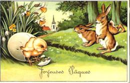 Joyeuses Pâques - Dessun -lapins Regardant Un Poussin Sortir D'un Oeuf - Pasqua