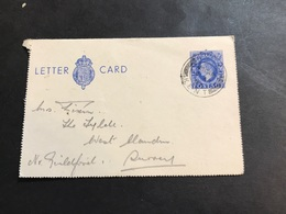 GB 1920 2 Pence 1/2 Bleu Letter Card De Kent - Interi Postali