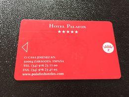 Hotelkarte Room Key Keycard Clef De Hotel Tarjeta Hotel  HOTEL PALAFOX ZARAGOZA  CASINO - Télécartes