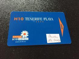 Hotelkarte Room Key Keycard Clef De Hotel Tarjeta Hotel  H 10 Z TENERIFE PLAYA CASINO TAORO - Télécartes