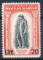 Stamp San MARINO 20 L On 75c Red & Blk Mint Lot13 - Saint-Marin