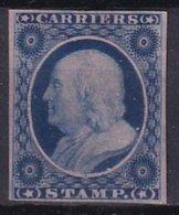 ETATS-UNIS - CARRIERS - 1 C.  Bleu Sur Rose Réimpression - 1847-99 General Issues