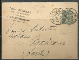Perforé JG 48 Inice 8  !sur Petite Enveloppe Authentifiée De Jean Gonelle  à La Flèche  RARE - France