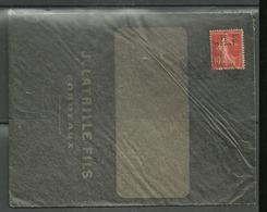 Perforé JLF  69   Sur  Enveloppe Noire Authentifiée De Jean LATRILLE  Bordeaux - France
