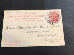 GB Entier 1892 Birmingham Pour Brunswick Gas Engineer's Directory - Interi Postali