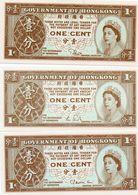 HONG KONG -  LOTTO 3 BANCONOTE - 1 CENT -UNIFACE -UNC - Monedas & Billetes