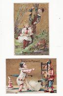 Chromo  BISCUITS PERNOT    Lot De 2    Pierrot, Arlequin, Couple En Forêt - Pernot
