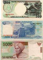 INDONESIA 500/1000/50000 RUPIAH XF+UNC - Monedas & Billetes