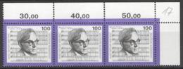 BRD 3x1637 Eckranddreierstreifen ** Postfrisch 1x Gefaltet - [7] Repubblica Federale