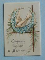 """Carte FANTAISIE Celluloïd - Colombe Et Fleurs Relief Ajoutis  """" Conservez Toujours Ce Souvenir """" - Fantaisies"""