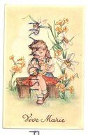 Vive Marie. Petite Fille Blonde Et Guirlande De Fleurs. Coloprint 7509 - Fêtes - Voeux