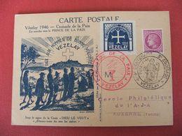 Carte Vézelay 1946 Croisade De La Paix 21/7/1946 - 1940-49