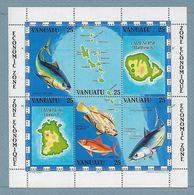 Rou25 - Vanuatu Bloc Feuillet 4**MNH - Cartographie - Faune - POISSON. - Vanuatu (1980-...)
