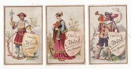 Chromo  CHOCOLAT IBLED    Lot De 3    Hommes, Femme, Trompette, Lance, Livre     10.6 X 7 Cm - Ibled