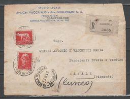 ITALIA 1945 - Luogotenenza - Imperiale 2 L. E 5 L. Su Raccomandata - Marcofilía