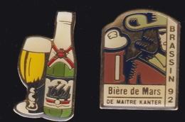 65573-Lot De 2 Pin's-Bière.Boisson.alcool. - Bière