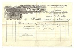 """8376""""DITTA PIETRO BARRA-GRANDE OROLOGERIA ED OREFICERIA-OTTICA-PINEROLO """" - RICEVUTA DEL 1920 - Italy"""