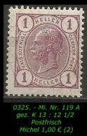 Österreich - Mi. Nr. 119 A - Gez. K 13 : 12 1/2 In Postfrisch - 1850-1918 Empire