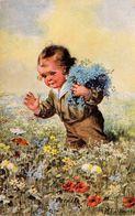 ENFANT : GARÇON Et FLEURS & PAPILLON / BOY And FLOWERS & BUTTERFLY - ILLUSTRATION SIGNÉE : W. FIALKOWSKA (ae961) - Fialkowska, Wally