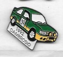 Pin's  Ville, Sport  Automobile  Rallye  Voiture  Verte  N° 39  Avec  Pilote  DAMBROSIO  1992 - Rally