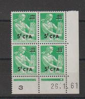 Réunion CFA 1961-65 Marianne Surchargée 345 Coin Daté ** MNH - Isola Di Rèunion (1852-1975)