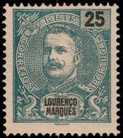 ✔️ Lourenço Marques 1898 - 25 Reis Carlos I , P. 13½ (!)  -  Afinsa 37 / Mi. 37C / Sc. 36a - ** MNGAI €32 - Lourenco Marques