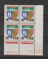 Réunion CFA 1961-65 Blason St Denis Surchargé 346B Coin Daté ** MNH - Isola Di Rèunion (1852-1975)