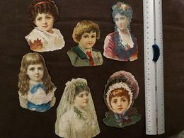 DECOUPIS ANCIEN -  6 PORTRAITS DE FEMMES ET ENFANTS - MOYEN FORMAT - Alte Papiere