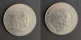 Denemarken 10 Kroner, 1972 Death Of Frederik IX And Accession Of Margrethe II KM# 858 - Denemarken