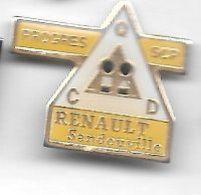 Pin's  Triangulaire  Ville, Automobiles  RENAULT  SANDOUVILLE, PROGRÈS  S C P, C Q D  ( 76 ) - Renault