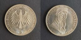 Duitsland 5 Mark, 1968  500th Anniversary - Death Of Johannes Gutenberg KM122 - [10] Commémoratives