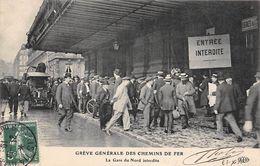 Thème Grève.Paris. Grève Générale Des Chemins De Fer.  La Gare Du Nord Interdite    ( Voir Scan) - Grèves