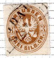 ALLEMAGNE - (Prusse) - 1861-65 - N° 20 - 3 S. Bistre - (Armoiries) - Prusse