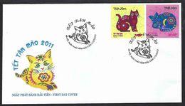 Vietnam 2010; FDC : Year Of The Cat 2011, Anno Del Gatto 2011. - Domestic Cats