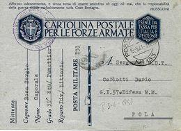 P.M. 133 Sur Carte De Franchise Militaire Italienne FM 1941 Vers Pola - Correo Militar (PM)