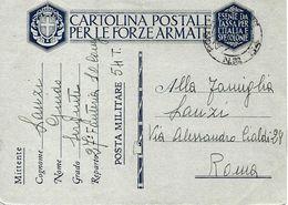 P.M. 54 Sur Carte De Franchise Militaire Italienne FM 1941 Vers Roma - Correo Militar (PM)