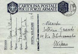 P.M. 23 Carte De Franchise Militaire Italienne FM 1941 Vers Milano - Correo Militar (PM)