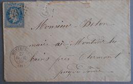 EMPIRE LAURE 29 SUR LETTRE DE MONTBOZON AU MONT D'OR DU 27 FEVRIER 1869 (GROS CHIFFRE 2437) - 1849-1876: Classic Period
