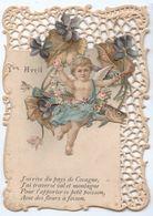 1er Avril -  Carte  Chromo, Dentellee, Decoupis - Ange, Poisson, Violettes - 1er Avril - Poisson D'avril