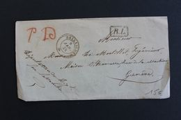 1854,DEVANT DE LETTRE  SALLANCHES CAD DU 08/01/1854 POUR GENEVE EN PORT DÛ MARQUE RL DANS UN RECTANGLE CAD ARRIVEE 09/01 - Marcophilie (Lettres)