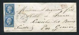 Belle Lettre Des Ormes ( Vienne 1859 ) Pour Louèche Les Bains ( Suisse ) Avec Deux N° 14A - Postmark Collection (Covers)