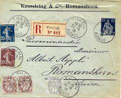 Entier Postal  De La Suisse Voyagée De Thann (Alsace) Vers Suisse Par Recommande 1915 Voir 2 Scan - Alsace-Lorraine