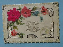 """Cpa FANTAISIE -- Carte Relief Mécanique - Tissu - Strass - """" Que Cette Année Soit Pour Vous Remplie De Bonheur """" - Nouvel An"""