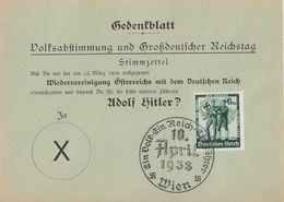 DR Gedenkblatt Zur Volksabstimmung EF Minr.663 SST Wien 10.4.38 - Deutschland