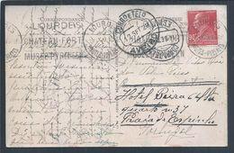 Postal Expedido De Lourdes Para Aveiro E Reexpedido Com Selo Ceres De 25c Para Praia De Espinho 1929. Chemist Berthelot - Lettres & Documents